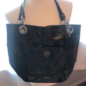 COACH SHINY BLACK TOTE STYLE SHOULDER BAG